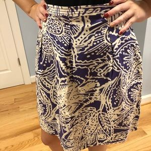 Purple and Cream Floral Skirt